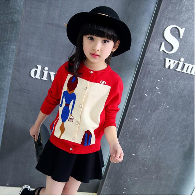 Caráter tricô cardigan meninas camisola crianças vermelho de manga longa preta de malha meninas camisola jaqueta outono 2016 partes superiores das meninas roupas