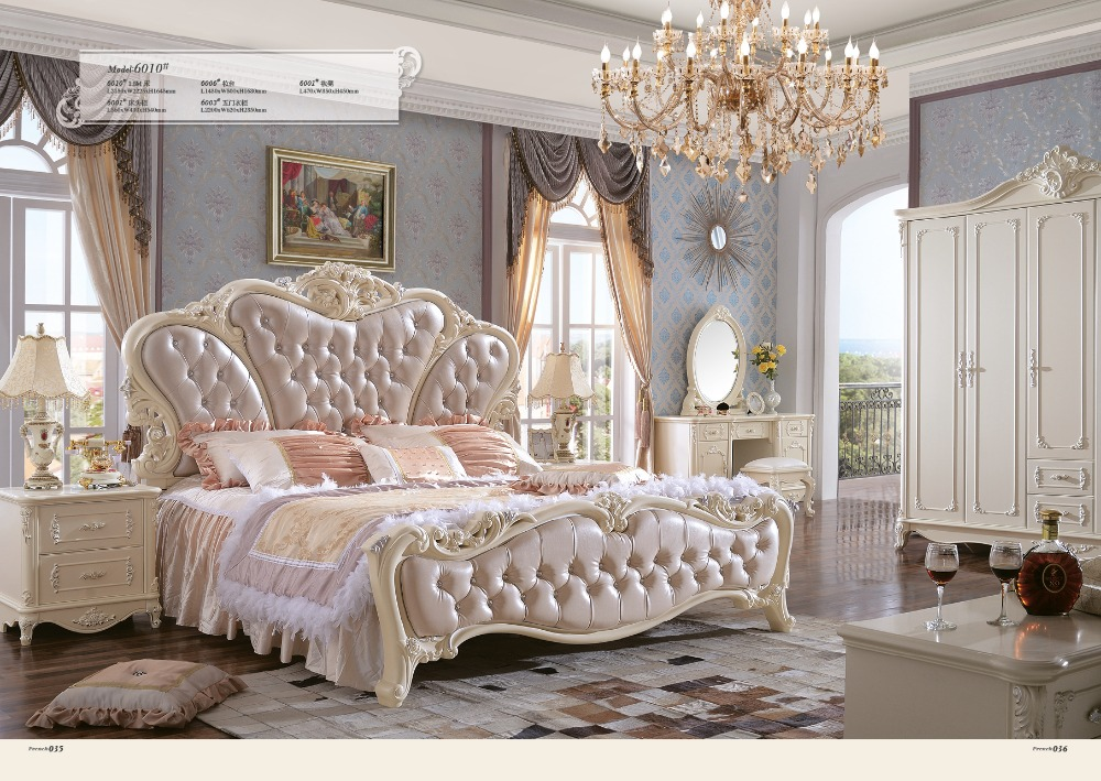 2016 Rushed Promotion King Antique No Genuine Leather Muebles Para Casa Bedroom Furniture Soft Bed Continental Carved French