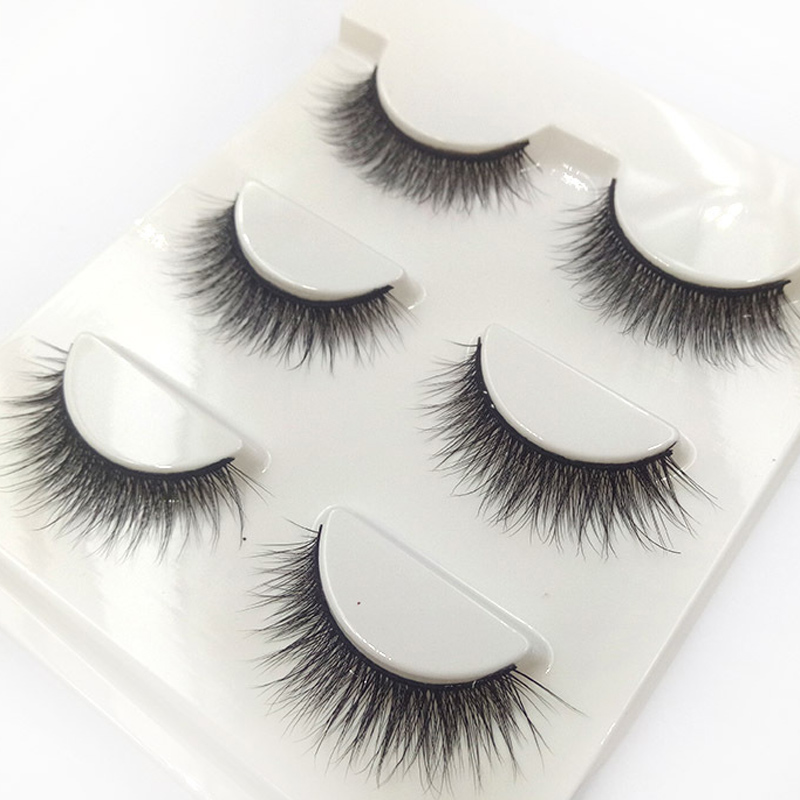 3 pairs Natural Short False Eyelashes Handmade Cotton Stem Cross Makeup 3D Fake Eyelashes Fashion Dance Tools Thick Eye Lashes