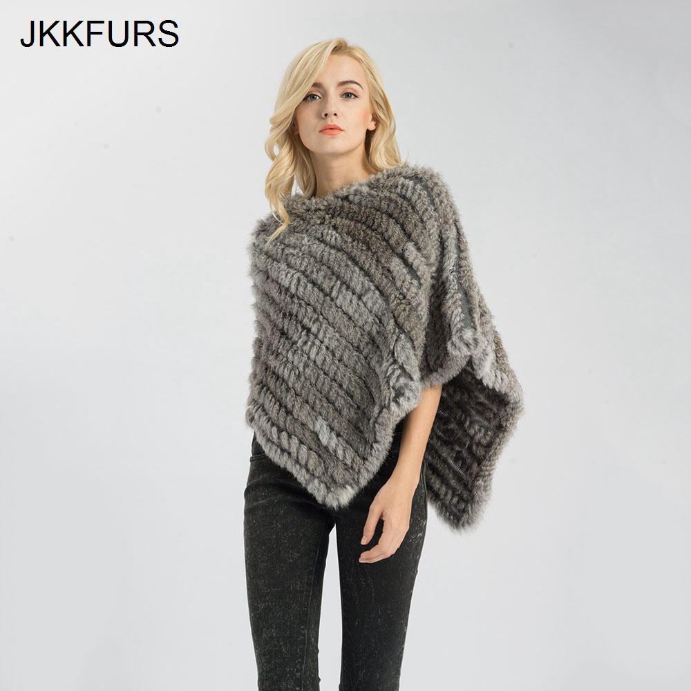 Shawl Poncho Knitted Real-Rabbit-Fur JKKFURS Fashion-Style Women's Ladies Cape S1071S