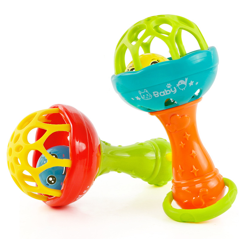 лучшая цена Baby Rattles toy Intelligence Grasping Gums Plastic Hand Bell Rattle Funny Educational Mobiles Toys Birthday Gifts WJ482