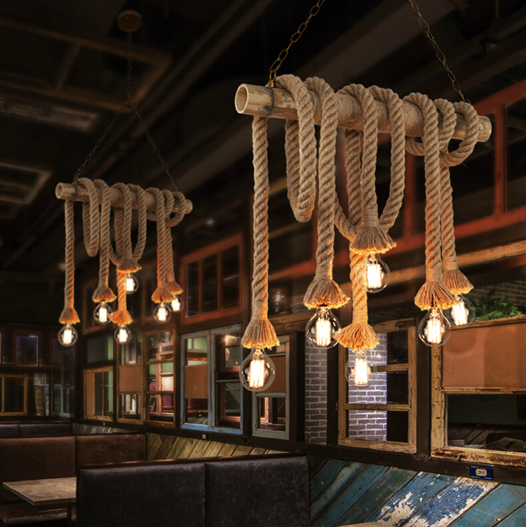 Vintage Bamboo Rope Pendant Lights E27 LED 4 6 Bulbs Loft Lamps Creative Design Pipe Industrial Dining Room Lighting