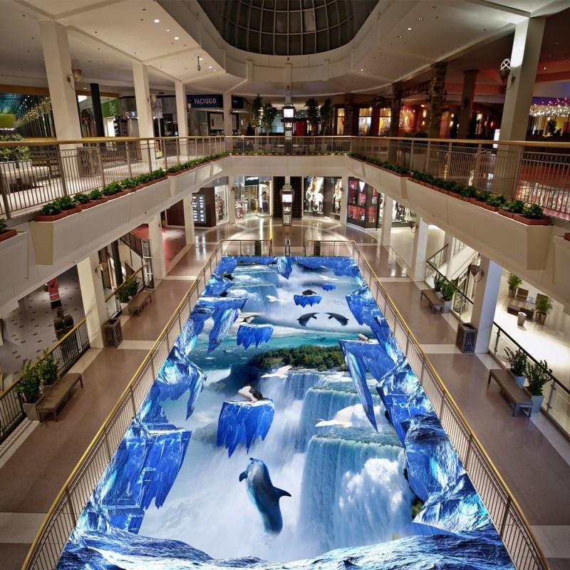 цена Free Shipping Waterfalls Suspension Mountain 3D flooring painting wallpaper hotel waterproof cafe floor mural онлайн в 2017 году