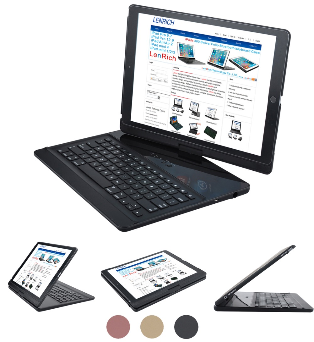 For iPad pro 12.9 case keyboard 2017 and 2015 360 Degree Rotatable Wireless Bluetooth Keyboard Auto Sleep/Wake up stand
