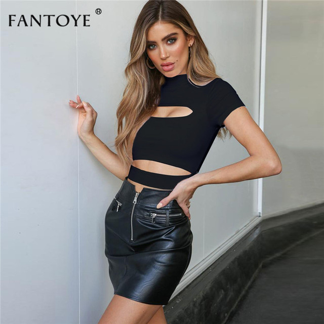 Fantoye 2019 Summer Hollow Out Women T Shirts Casual Solid Short Sleeve Crop Top Slim High Street Clubwear Pullover Basic Tees 4