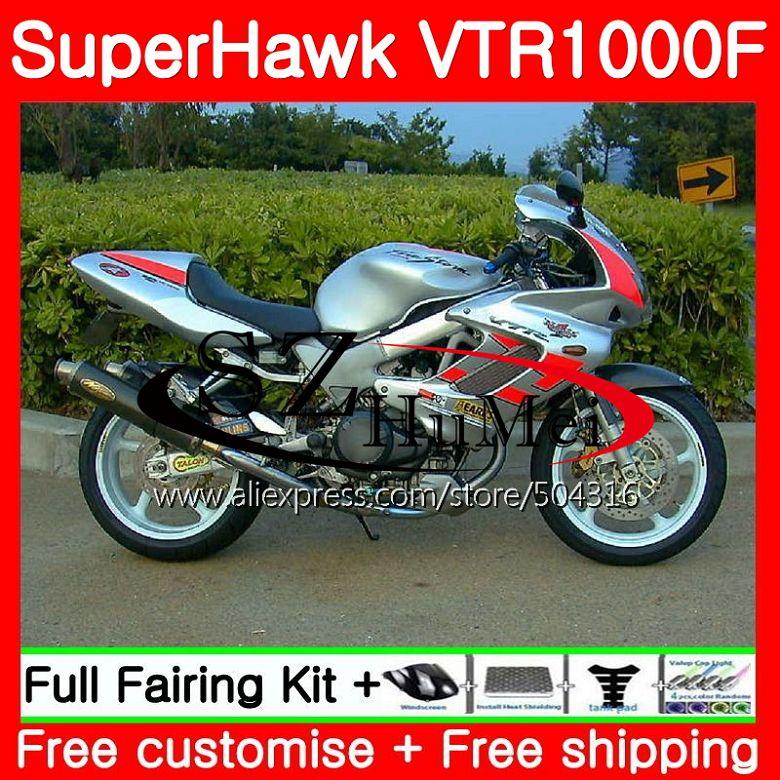 Комплект для HONDA SuperHawk VTR1000F 97 98 99 00 01 108SH. 9 VTR1000 F VTR 1000F 1000 F 1997 1998 1999 2000 2001 красный серебристый обтекателя
