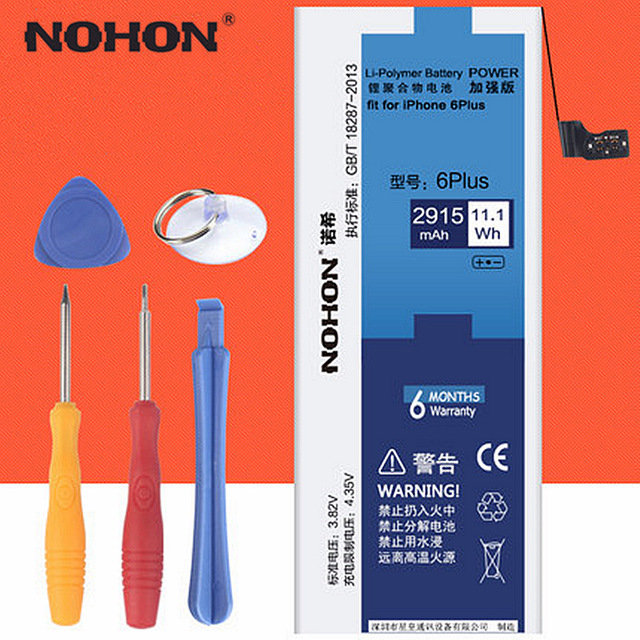 100% NOHON 2915mAh High Capacity New Battery Perfect Fit For iPhone 6 Plus Built-In Replacement Batteries with Machine Tools