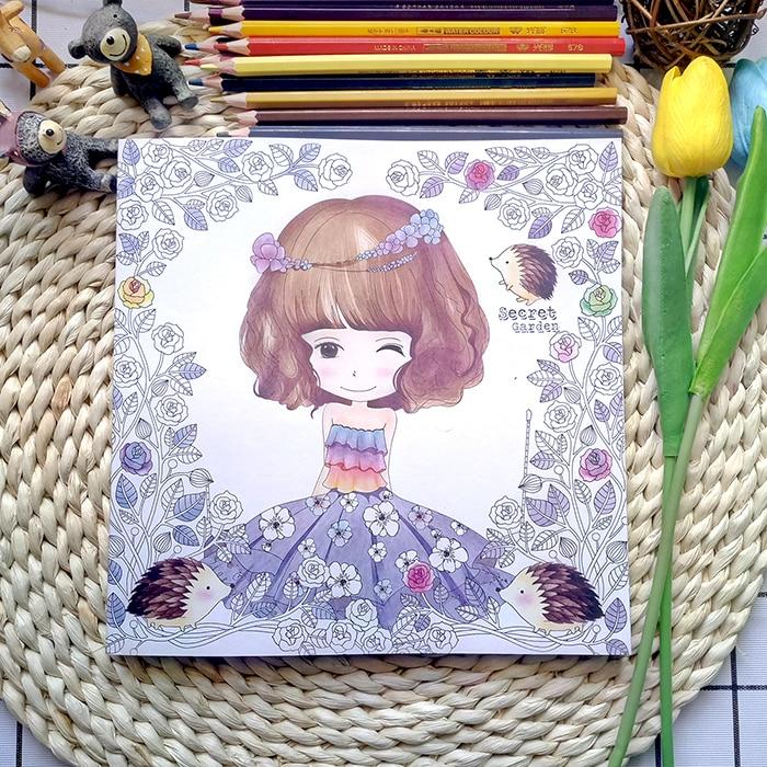 100 páginas hermosa chica libro para colorear jardín secreto libro ...