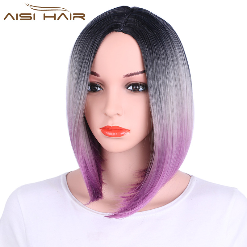 I s a wig Ombre Pink Blonde Grey Purple Bob Style Straight Synthetic Wigs for Black