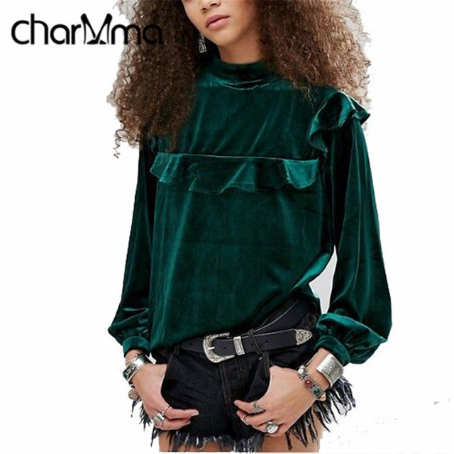 CharMma 2017 Ladies Tops Plus size Women Velvet Blouse Shirt Green Long Sleeve Blusas Stand Collar Ruffles Female Blouse Tops