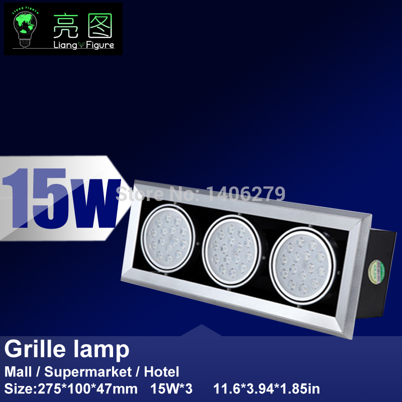 15W*3 LED Grille lamp AC85-265V ceiling lamp energy saving LED downlight spotlight 12w led grille lamp ac85 265v 210 210mm four heads recessed spots grille lights indoor commercial office led lattice lighting