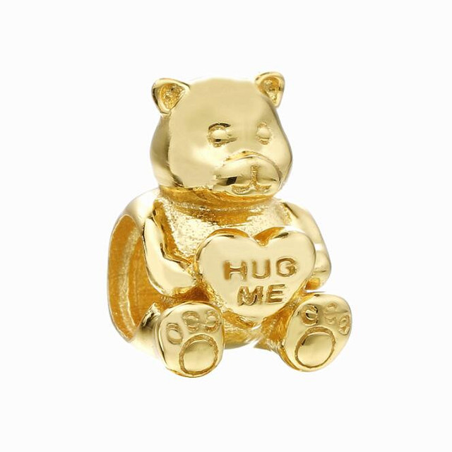 8a85146fe Gold Shine Theodore Bear Charm 925 Sterling Silver Animal Beads Fit Pandora  Charms Bracelet Women Jewelry Accessories