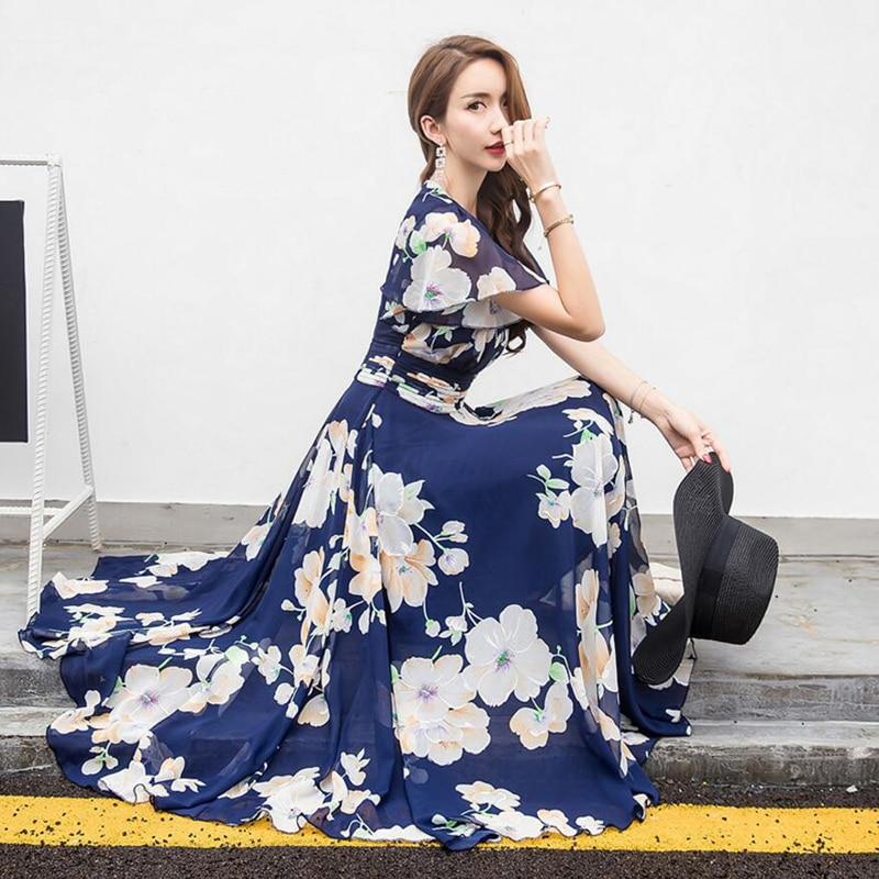 2018 Summer New Bohemian Chiffon Dress Female Temperament Short Sleeve Printing Long Chiffon Dresses Women Clothing LY895
