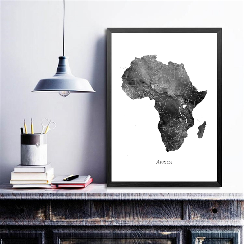 Africa Watercolor Map Poster Home Decor