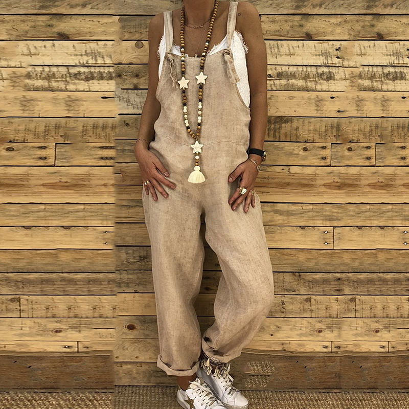 Women Pants Bib Overalls Wide Leg Pants Vocation Dungarees Casual Solid Jumpsuits Trousers Backless Loose Rompers Long Playsuit