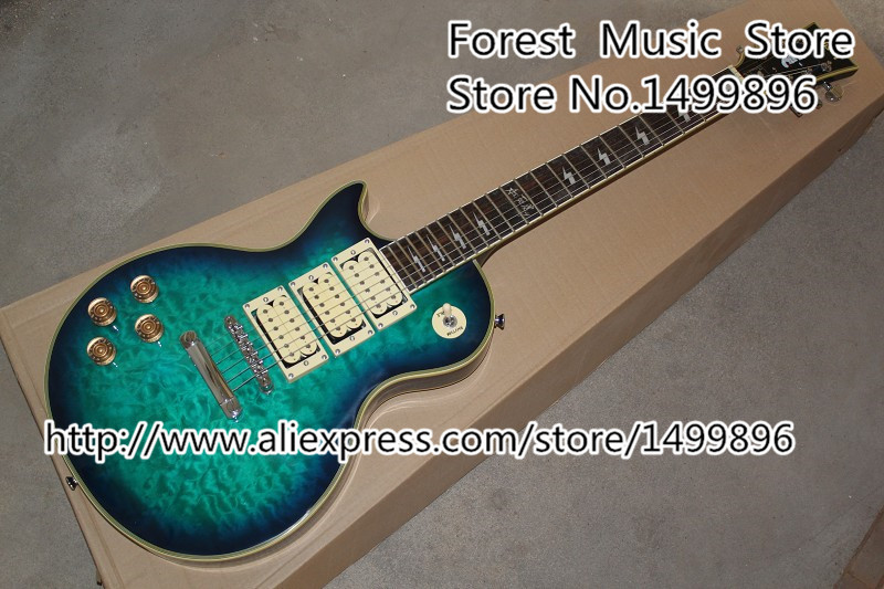 Best Quality Ace Frehley Signature Vintage Blue Quilted Left Handed LP Electric Guitar With Three Pickups In Stock 2017 les custom shop ace frehley electric lp guitar 3 pickups tiger maple cover mahogany body signature inlay lp custom guitar