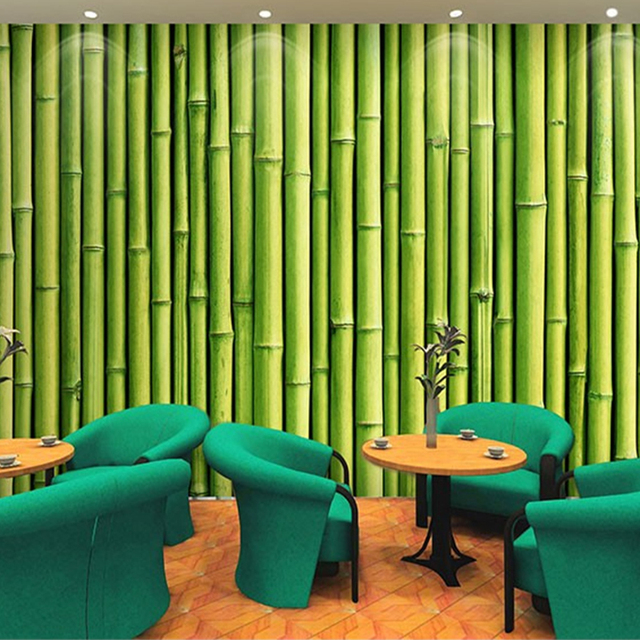 Buy 3d bamboo green large wall painting for 3d wallpaper for dining room