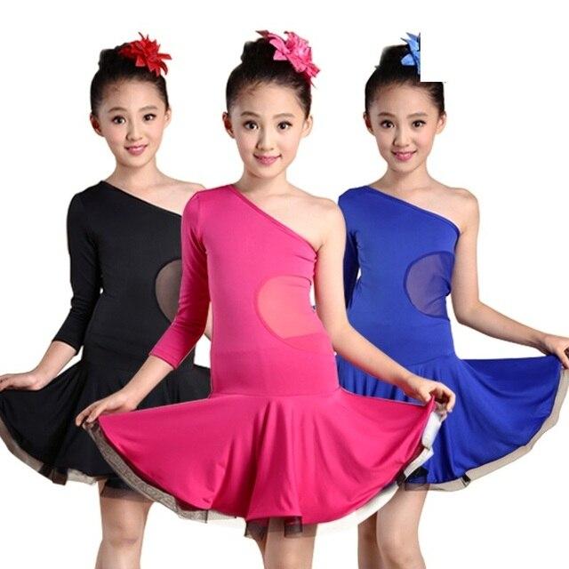 64926e53958e9 samba cha cha children sexy salsa costume red blue black latin dance for girls  ballroom dancing dresses for tango dress for kids