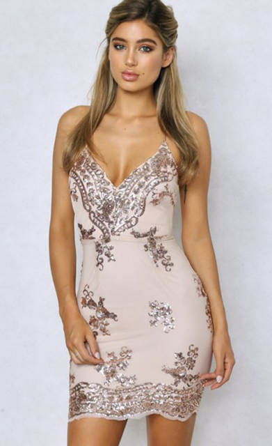 placeholder Bonnie Forest 2018 Summer Mini Dress Womens Sexy Gold Sequin  Dress Champagne Twinkle Sequin Overlay Dress efd36473ec90