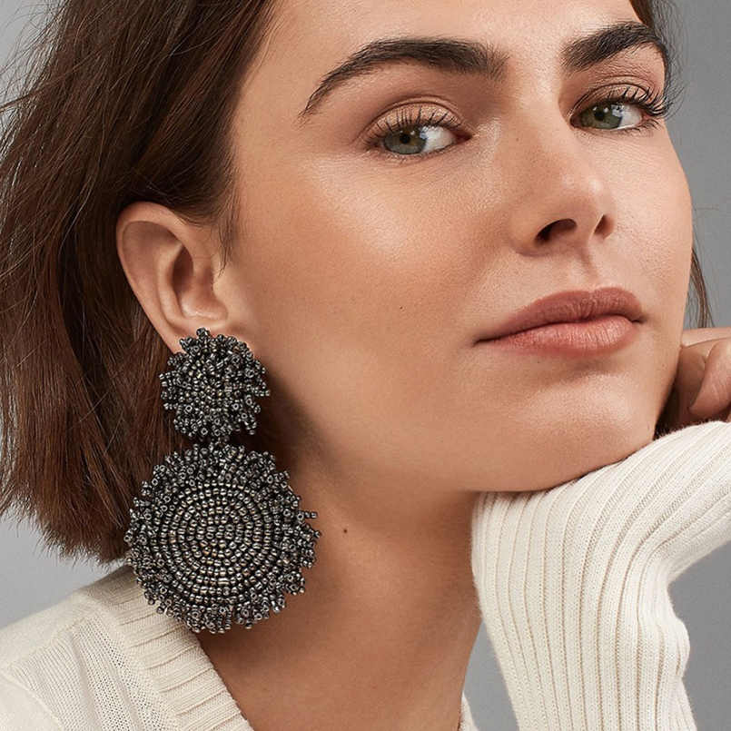 MANILAI Bohemian Handmade Beads Drop Earrings For Women Fashion Jewelry Dangle Earrings Round Statement Big Bead Pendant Wedding