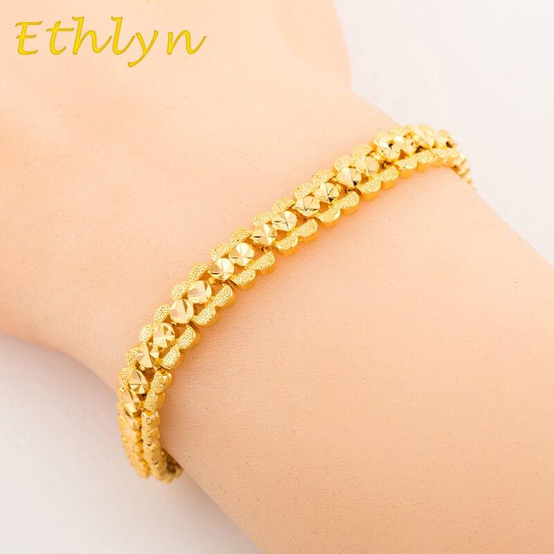 Ethlyn women romantic  bracelet jewelry 18.5cm*6mm Gold color  Dubai/Ethiopian/African women gift  jewelry  B013 table