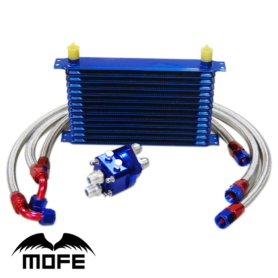цена Aluminum 10AN Engine Transmisson 13 Row Oil Cooler With Oil Filter Relocation Kit + Braided Stainless Steel Fuel Pipes