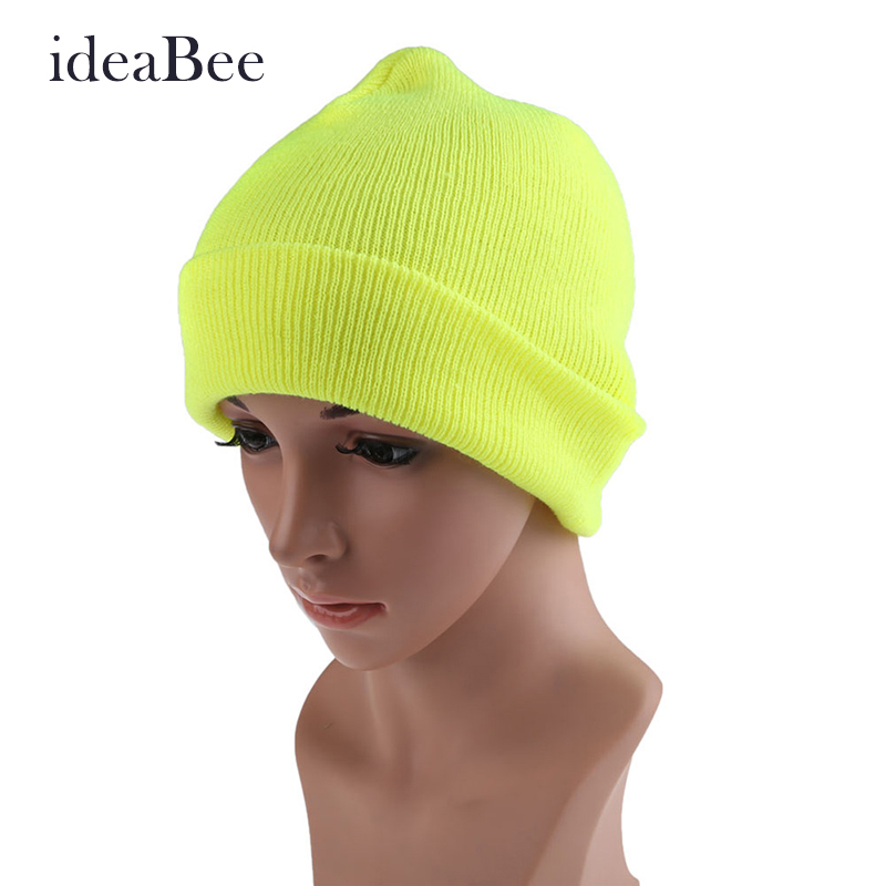 ideaBee Hip-Hop Color Winter Warm Unisex  Wool Hat Free Shipping Mail  New Hot Sale Men Women High Quaility Beanie Knit Cap  недорого