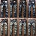 Moda Hombre Del Motorista Jeans Pantalones de Múltiples Bolsillos de Slim Fit Motocicleta Plisada Denim Jean Pantalones Joggers Hombre Diseñador de la Marca de Carga