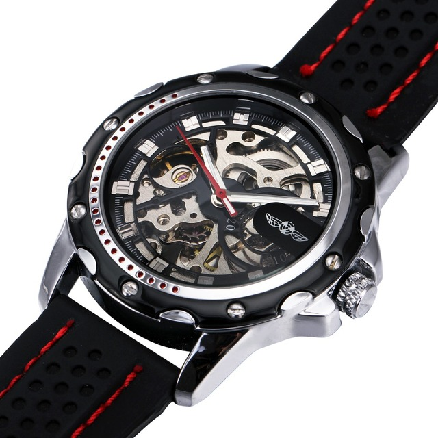 77b636e8de7 WINNER Military Mens Skeleton Watches Rubber Strap Meale Automatic Wrist  Watches Imported Mechanical Movement Luminous Hands