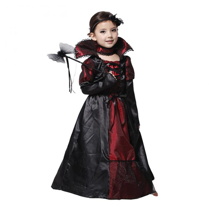 Halloween Dress Black Lace Queen Vampire Costume Kids Carnival Masquerade Party Fancy Costumes Girls's Dress 1
