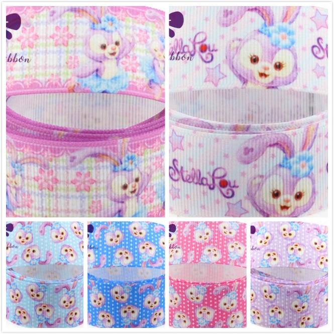 16mm-75mm Cute Rabbit Dot&Star&Flora&Check Printed Grosgrain RibbonElastic Different Colors Handmade hair band 50yardslot