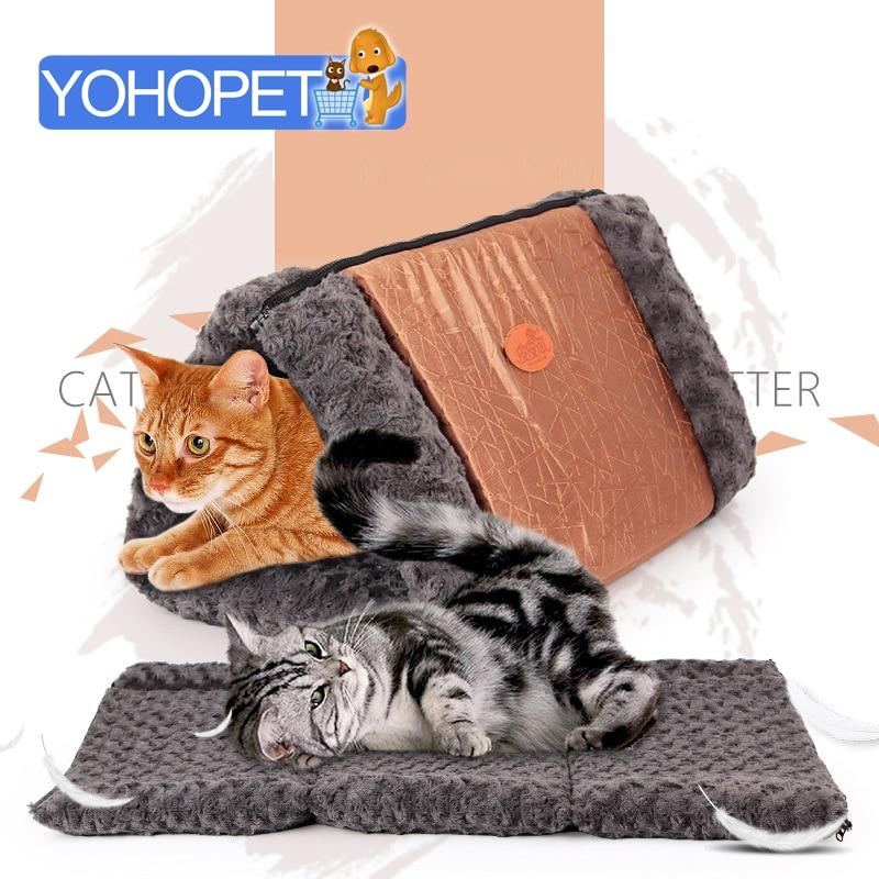 hot sale Pet dog/cat Bed Houses pet Kennel mat Triangle folding cat tunnel Blanket Cat litter Pet Sleeping Soft Bed Blanket
