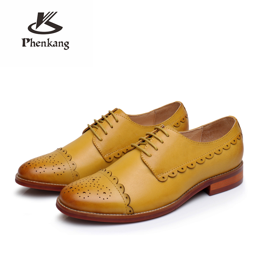100% véritable peau de mouton cuir brogue yinzo femme chaussures plates vintage à la main oxford chaussures 2018 hiver rouge orange jaune