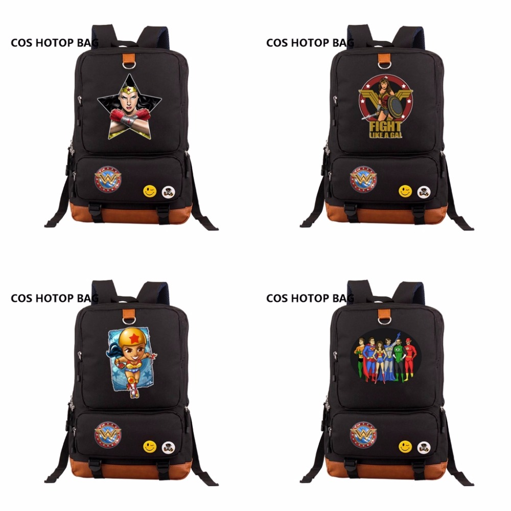 цена на Super Hero Batman Wonder Woman Backpack Women Shoulder Bags Canvas Travel Bag Teenagers Girls Boys School Bookbags 18 style