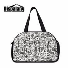 Dispalang Trendy Women Big Portable Duffel Bag Carry-on Bag With Indenpent Shoes Unit Cartoon XMAS Overnight Bag Travel Luggage