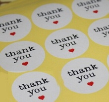 120PCS/Lot  Body Thank You White Heart Seal Sticker Baking Decoration DIY Multifunction Gift Packaging