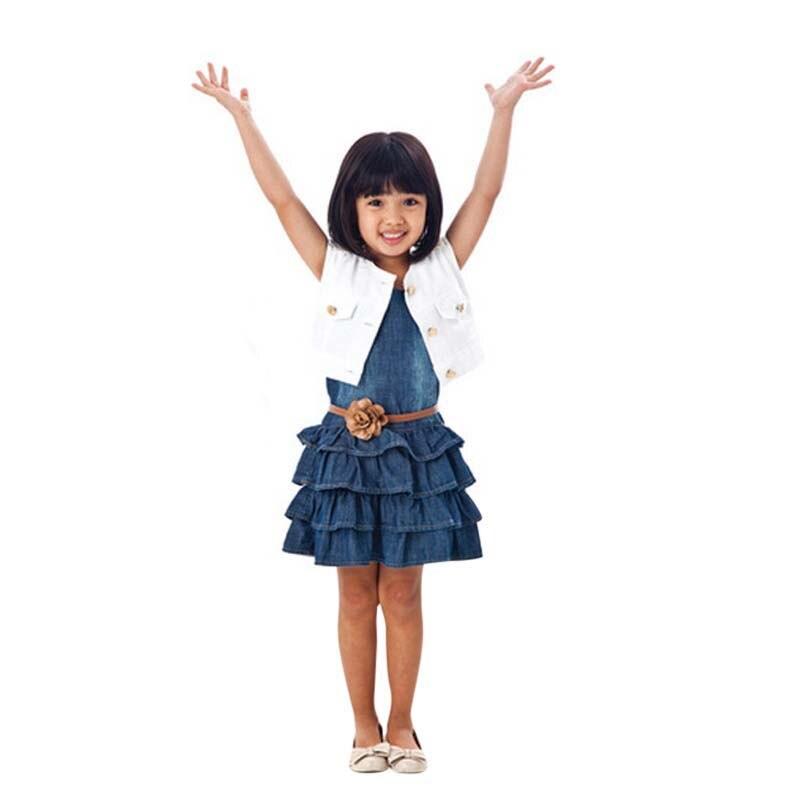 Лето Bbay платье из джинсовой ткани жилет; джинсы детская одежда для девочек Джинсы Платье для маленьких девочек + куртка 2 шт. 2017, Новая мода