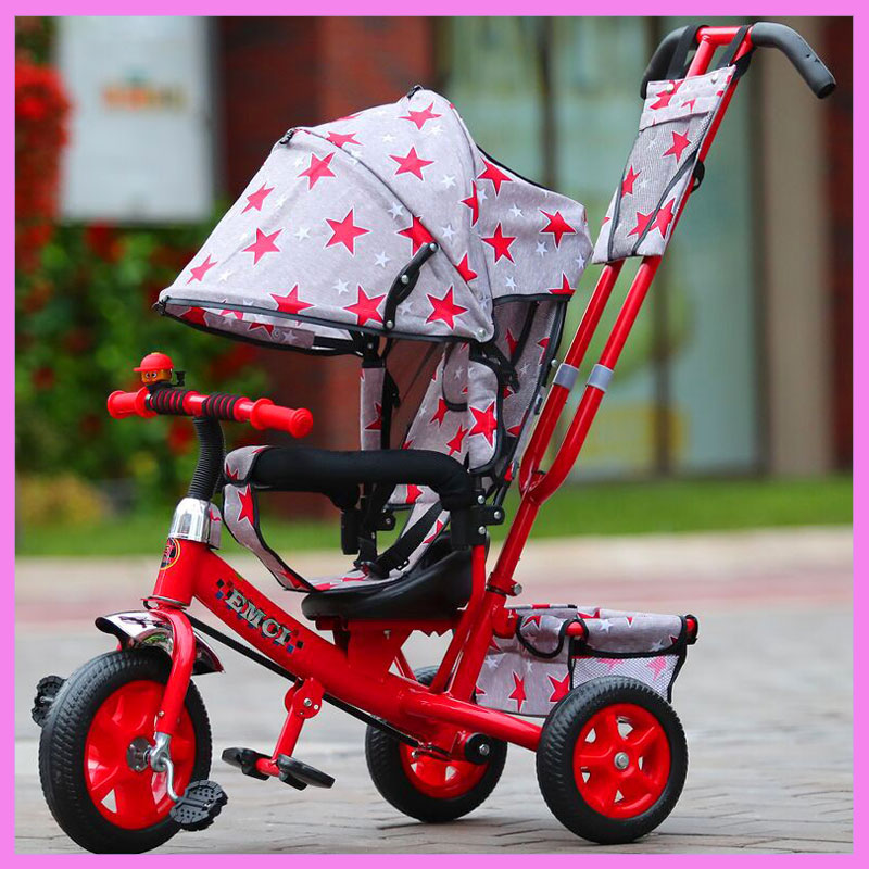 3 In 1 Child Tricycle Stroller Baby Carriage with 3 Wheels Trolley Baby Trike Bicycle Stroller Car with Shopping Cart Pushchair child drift trike 4 wheels walker kids ride on toys for 1 3 years tricycle outdoor driver