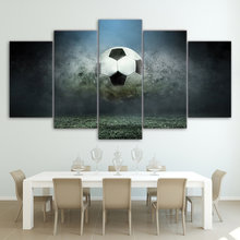 5 Panel Canvas Wall Art Set Modern Soccer Poster Picture Football Living Room Wall Pictures Directly Factory Price(China)