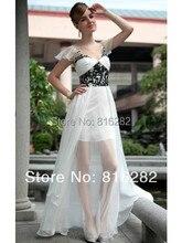 Großhandel-2016 Schöne A-line V-ausschnitt Perlen Kurzen Ärmeln Backless bodenlangen Formal Chiffon Weiß Abendkleider