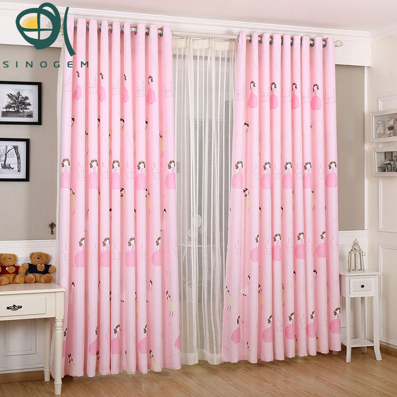 Hot Sale Pink Cute Girl Barbie Princess Bedroom Warmth Children Room  Shading Cloth Printing Curtain Cloth Part 77