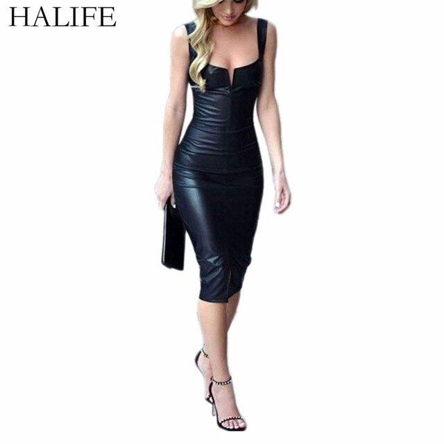 HALIFE Black Synthetic Leather Dress Women Sleeveless Sexy Split Pencil Bandage Dress 2018 Club Party Vestido De Festa XL 20