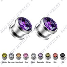BOG-Lot 9 Pairs High Quality Ear Tunnels Expanders Guages Plugs With Large Zircon Crystal Gem(00g,0g,2g,4g,6g)(China)