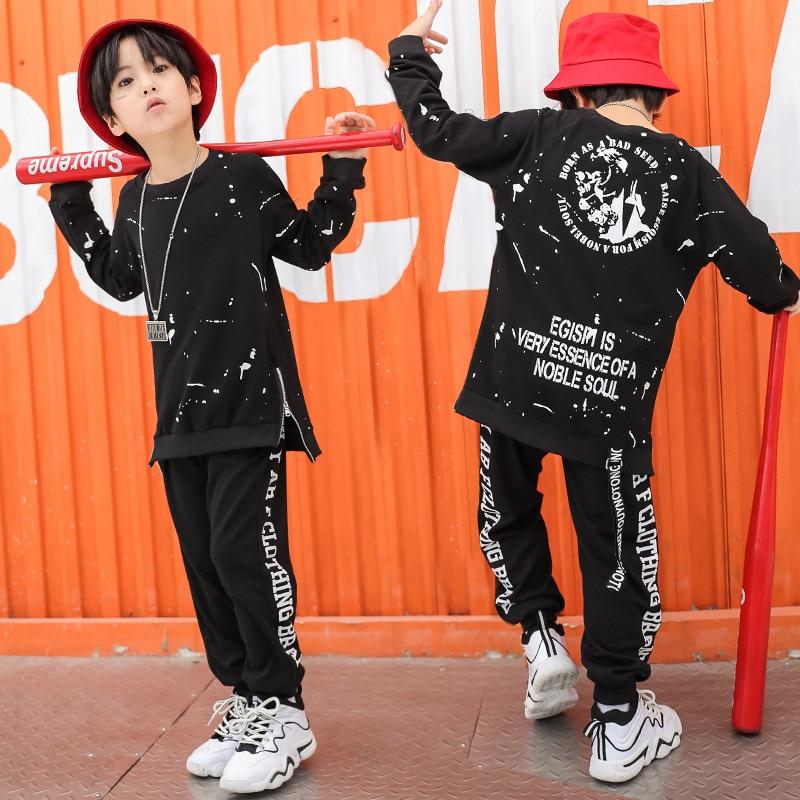 Kids Hip Hop Jazz Dance Costume Clothing Casual Shirt Sweatshirt Tops Jogger Pants For Girls Boys Ballroom Dancing Clothes Wear