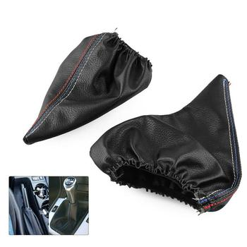 2Pcs/Set black Car Handbrake Shift Boot Faux Leather Cover for BMW 3 Series E36 E46 M3 image