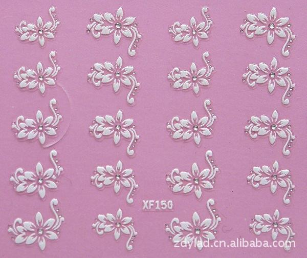 waterproof Water Transfer Nails Art Sticker fashion 3D flower design girl and women manicure tools Nail Wraps Decals XF150-in Stickers & Decals from Beauty & Health