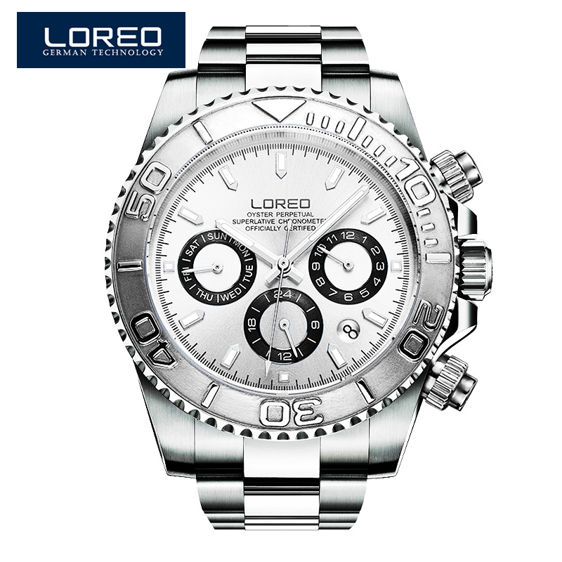 LOREO Fashion Luxury sapphire crystal men sport watches automatic mechanical waterproof luminous multifunctional diving watches loreo black genuine leather 200m diving military mechanical luxury men sports watches fashion automatic wristwatches male
