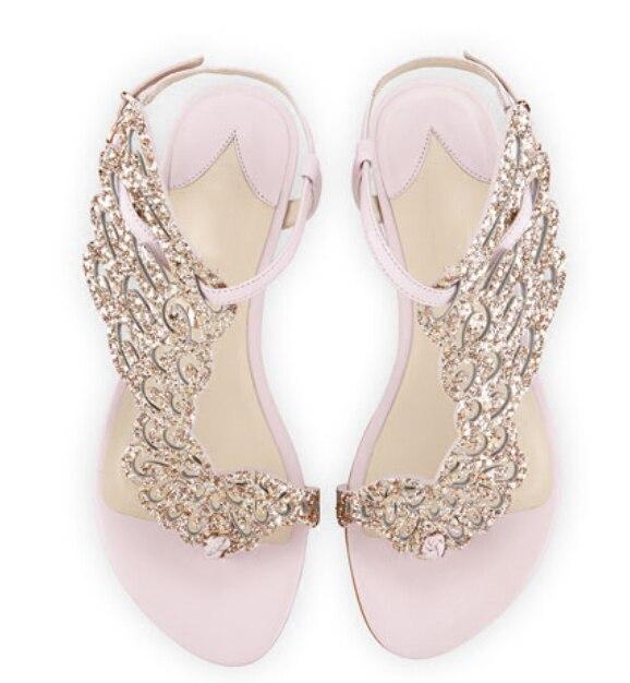 Nuevo rosa/Negro brillo Ángel ala Sandalias planas espejo cuero gladiador Tanga sandalias Bling cristal Chanclas Mujer Zapatos - 5