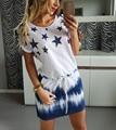 Nova mulher dress 2016 verão em torno do pescoço das mulheres casuais roupas estrela gradiente de impressão vestidos turno