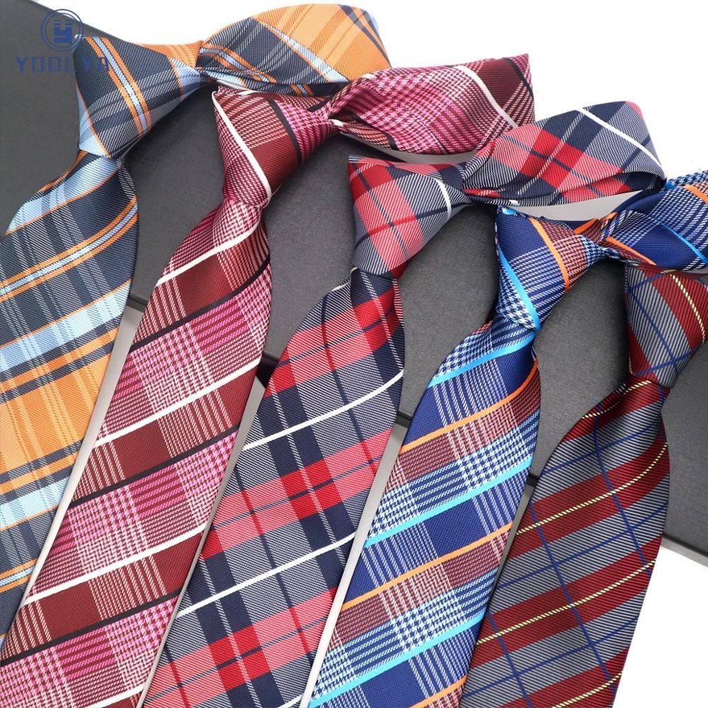 Luxury Mens Tie 8CM Plaid Checks Striped Silk Neckwear Jacquard Woven Neck Ties For Men Formal Business Wedding Party Necktie